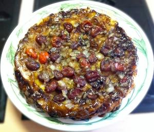 tarte aux tomates cerises et oignons confits