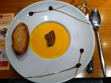 velouté potimarron, chataignes et foie gras