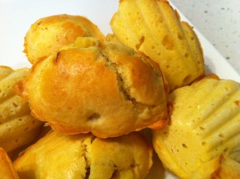 madeleines au foie gras et pommes cuites