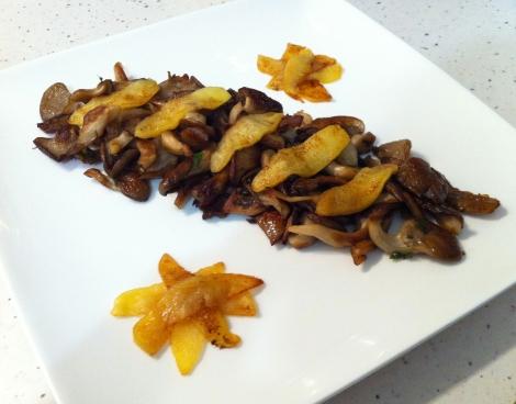 poelee pleurotes et pommes caramélisées